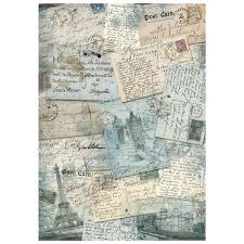 Stamperia A4 Decoupage Rice Paper - Blue Postcards DFSA4219