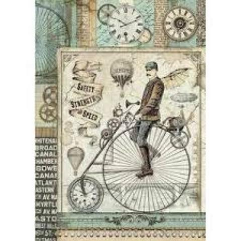 Stamperia A4 Decoupage Rice Paper -  Retro Bicycle DFSA4371