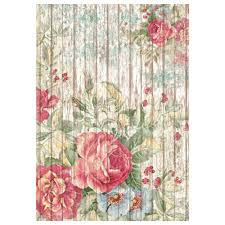Stamperia A4 Decoupage Rice Paper - Flowers on a Wooden Background DFSA4208