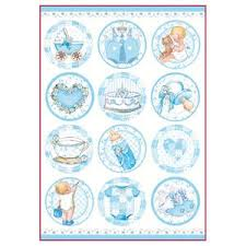 Stamperia A4 Decoupage Rice Paper - Baby Boy Round Subjects DFSA4291