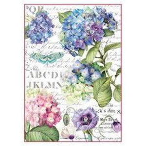 Stamperia A4 Decoupage Rice Paper -  Packed Hortensia DFSA4307