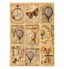 NEW Stamperia A4 Decoupage Rice Paper - SteamPunk Postcards DFSA4240