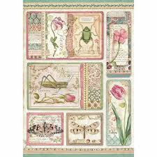Stamperia A4 Decoupage Rice Paper -  Spring Botanic Cards DFSA4360