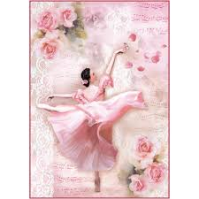 Stamperia A4 Decoupage Rice Paper - Ballerina with Flowers DFSA4308