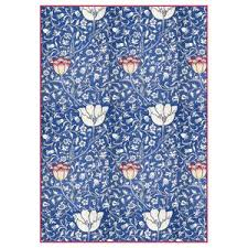 Stamperia A4 Decoupage Rice Paper - Blue Arabesque with Flowers DFSA4300