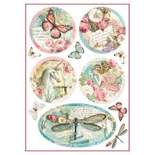 Stamperia A4 Decoupage Rice Paper - Wonderland Postcards DFSA4270