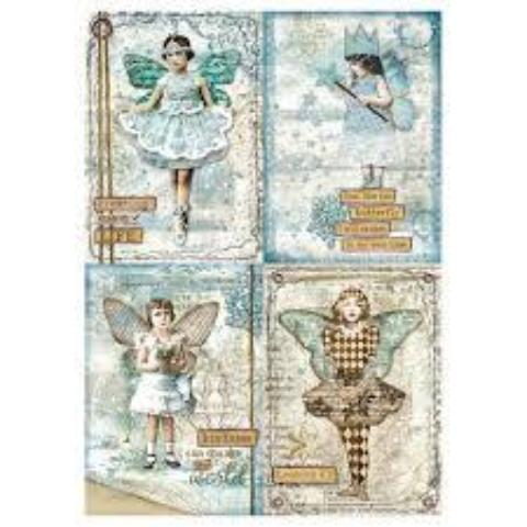 Stamperia A4 Decoupage Rice Paper -  Blue Stars Cards DFSA4246