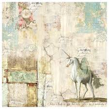 Stamperia 50 x 50cm Decoupage Rice Paper - Wonderland Unicorn- DFT336