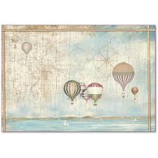 Stamperia 48 x 33 Decoupage Rice Paper -  Sea Land Balloons DFS404