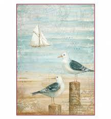 Stamperia A4 Decoupage Rice Paper -  Sea Land Seagulls DFSA4283