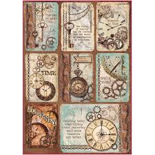 Stamperia A4 Decoupage Rice Paper - Clockwise Cards DFSA4287