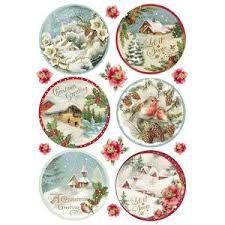Stamperia A4 Decoupage Rice Paper - Christmas Bauble Postcards DFSA4197