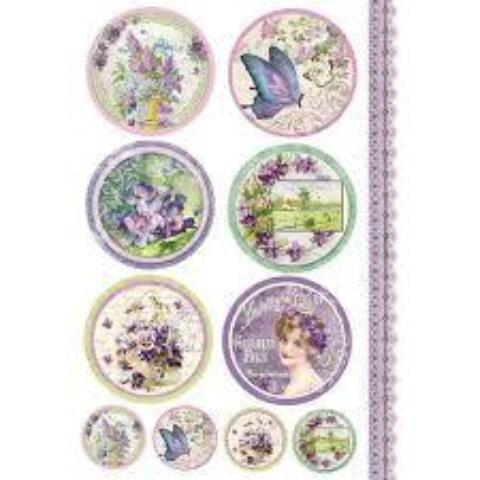 Stamperia A4 Decoupage Rice Paper - Violet Tag DFSA4082