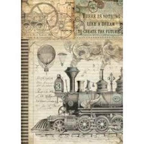 NEW Stamperia A4 Decoupage Rice Paper -  Voyages Train DFSA4372