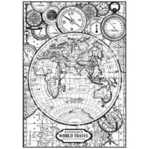 Stamperia A4 Decoupage Rice Paper -  World Travel DFSA4190