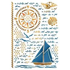 Stamperia Stencil - Flexible transparent 21x29,7cm - Sea Land - KSG420