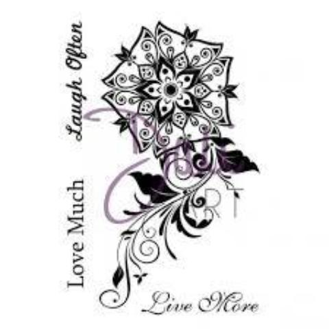 DaliART- Henna Poppy - Live, Love, Laugh Stamp - A6