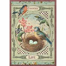 Stamperia A4 Decoupage Rice Paper -  Country Life Birds DFSA4352