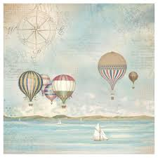 Stamperia 50 x 50cm Decoupage Rice Paper - Hot Air Balloons DFT335