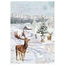 Stamperia A4 Decoupage Rice Paper - Christmas Deer DFSA4248