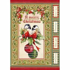 NEW Stamperia A4 Decoupage Rice Paper -  Christmas Vintage Birds & Spheres -  DFSA4340