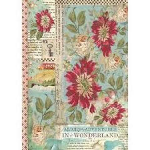 NEW Stamperia A4 Decoupage Rice Paper -  Alice Red Flower DFSA4351