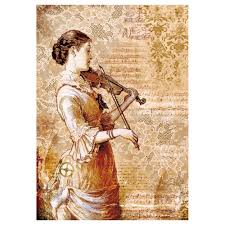 Stamperia A4 Decoupage Rice Paper - Steampunk Women with a Violin DFSA4269