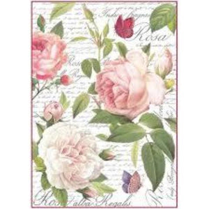 Stamperia A4 Decoupage Rice Paper -  Packed Vintage Roses DFSA4304