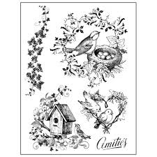Stamperia Natural Rubber Stamps 14x18cm - Bird Nest - WTKCC63