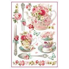 Stamperia A4 Decoupage Rice Paper - Flourished Cups and Teapots DFSA4295