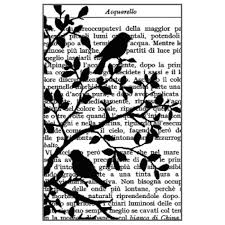 Stamperia Natural Rubber Stamps 7x11cm - Bird Branch Script - WTKCC75