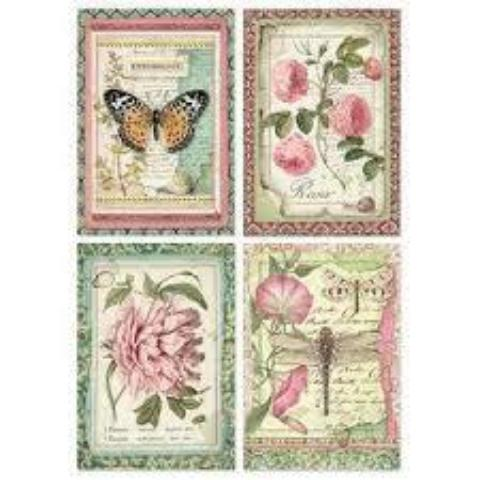 NEW Stamperia A4 Decoupage Rice Paper -  Botanic Flower Cards DFSA4361