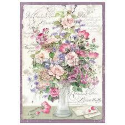 Stamperia A4 Decoupage Rice Paper - Flower Bouquet Violet DFSA4211