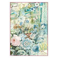 Stamperia A4 Decoupage Rice Paper - Wonderland Fantasy Flowers DFSA4272