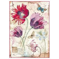 Stamperia A4 Decoupage Rice Paper - Vintage Tulips DFSA4276
