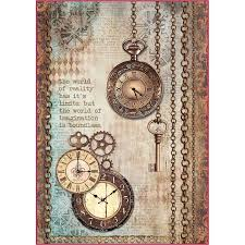 Stamperia A4 Decoupage Rice Paper - Clockwise Clocks and Keys DFSA4288
