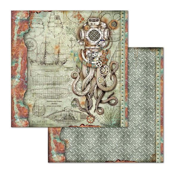 NEW Stamperia 'Sea World - Octopus' -  Double Face Paper 30 x 30 SBB663