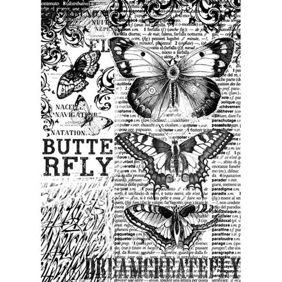 NEW Stamperia A4 Decoupage Rice Paper - Mixed Media Butterfly DFSA4168