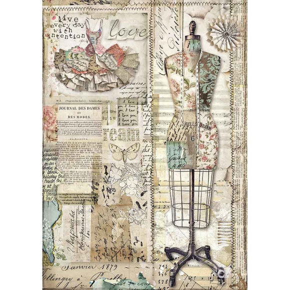 Stamperia A4 Decoupage Rice Paper -  Imagine Mannequin DFSA4442