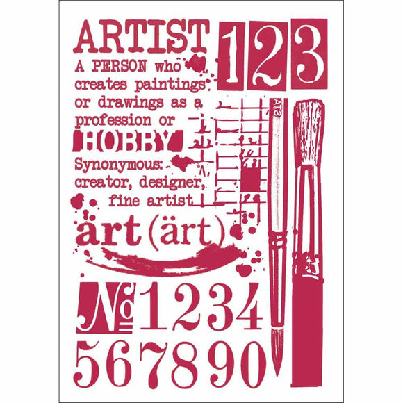 Stamperia Stencil - Flexible transparent 21x29,7cm - Artist - KSG423