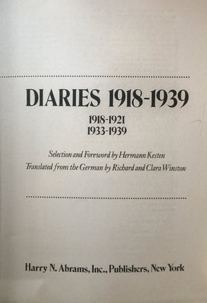 Thomas Mann - Diaries 1918-1939 1918-1921, 1922-1939  Selection and Foreword by Hermann Kesten  Translated from the German by Richard and Clara Winston  Harry N. Abrams Publishers  New York  יומני תומאס מאן  ספר מצולם ומודפס חדר קריאה חנות לספרים ישנים וחדשים