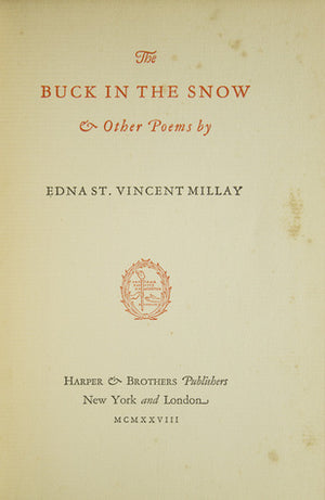 The Buck In The Snow and other poems by Edna St. Vincent Millay, חדר קריאה חנות לספרים ישנים וחדשים