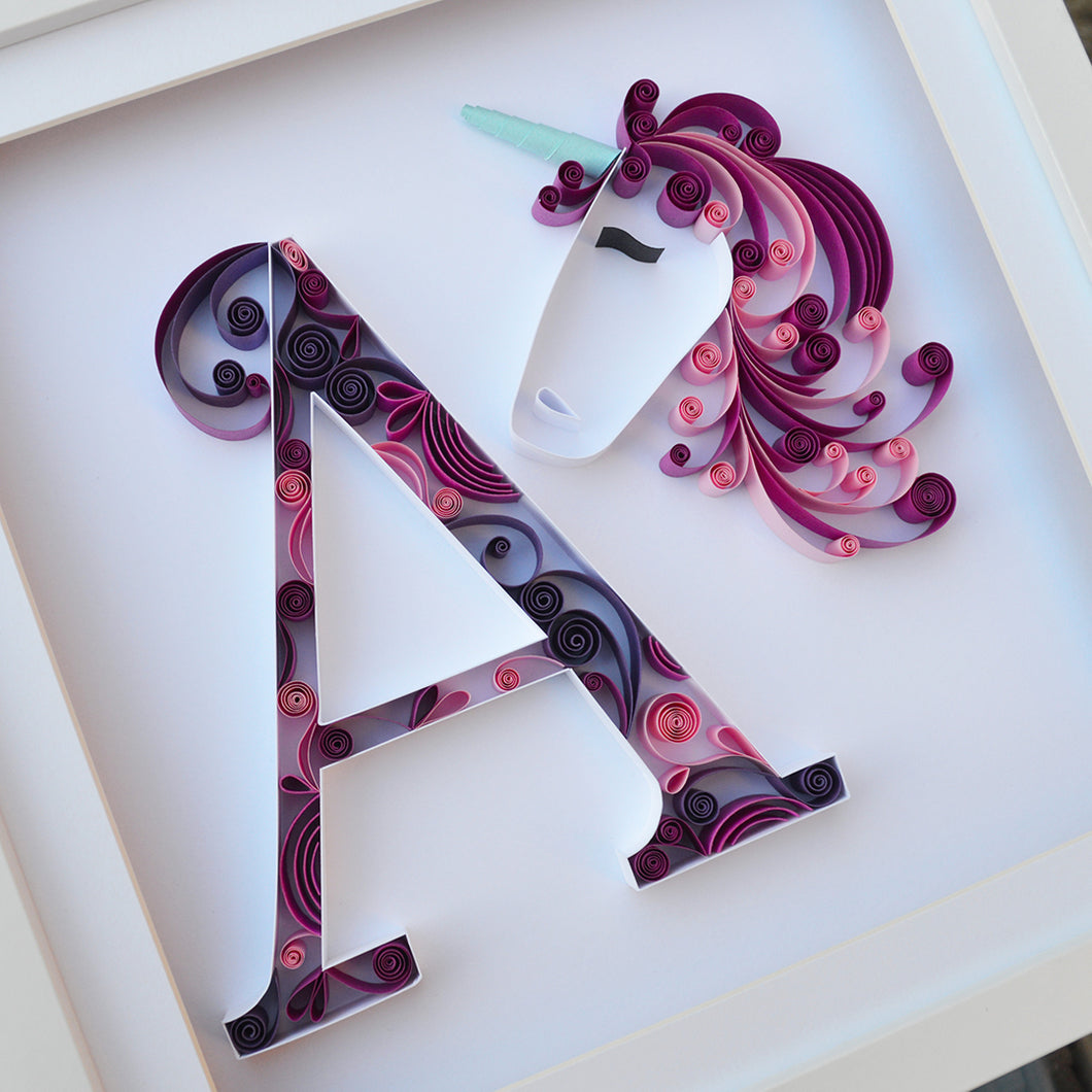 Personalised initial and unicorn