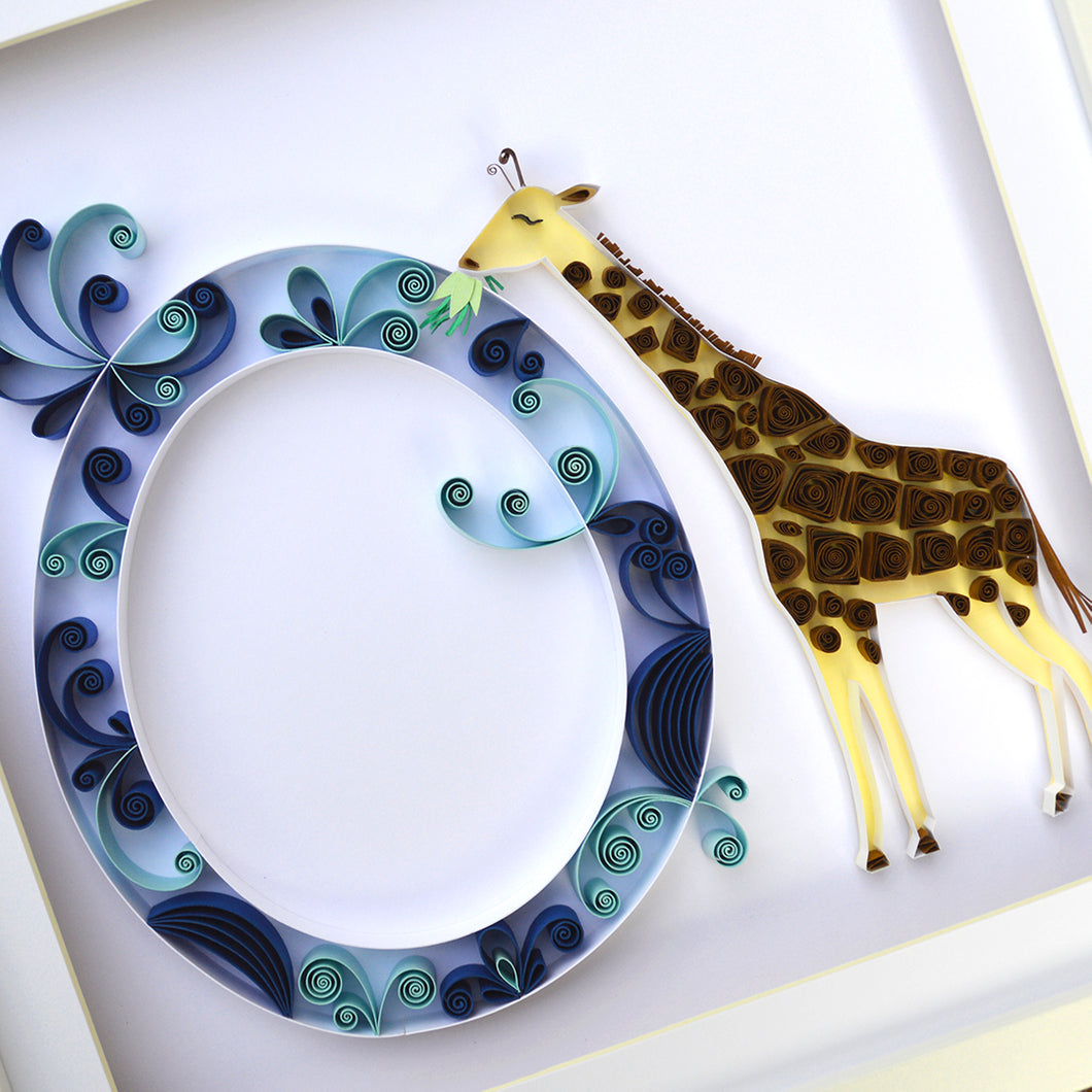 Personalised initial with giraffe