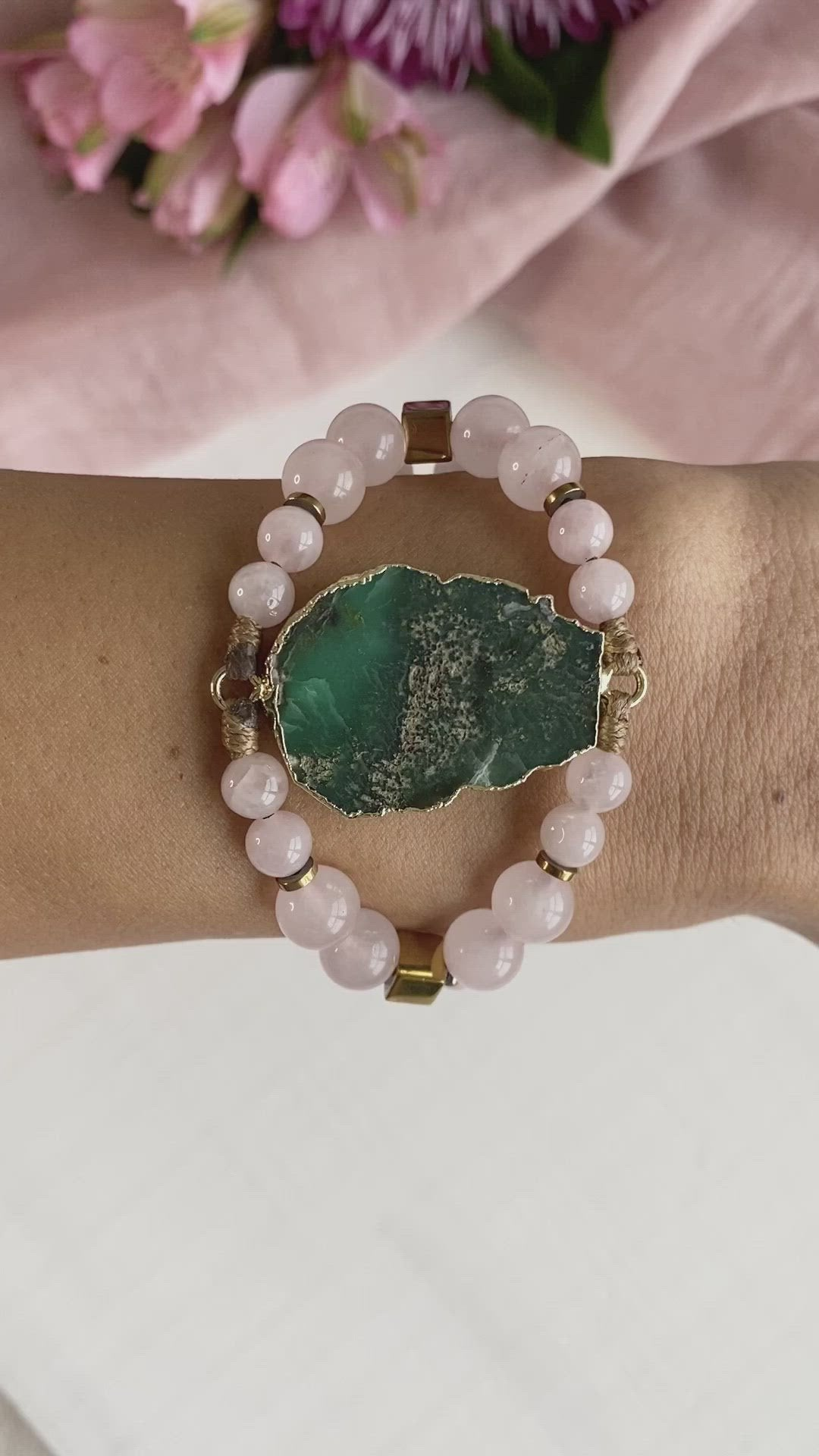 Australian Chrysoprase statament bracelet with Rose Quartz and Hematite
