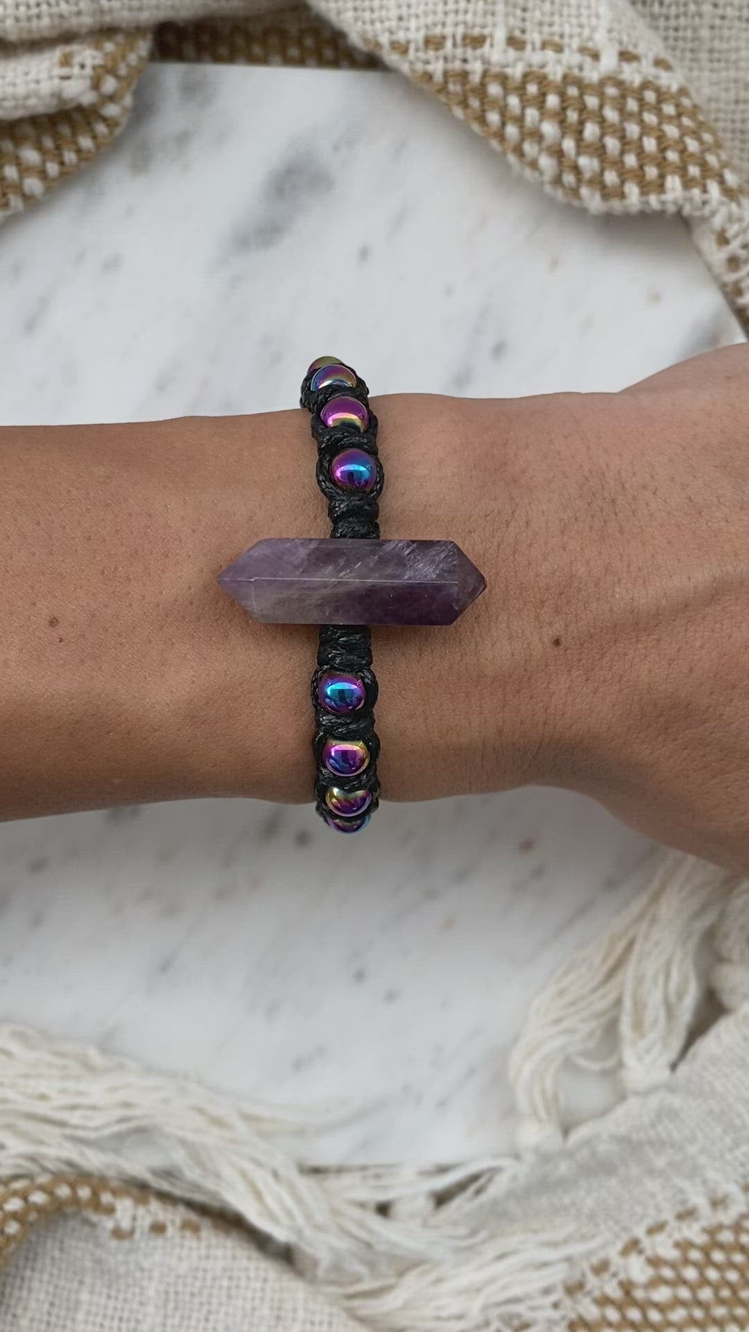 Double point Amethyst statement macrame bracelet with rainbow coated Hematite