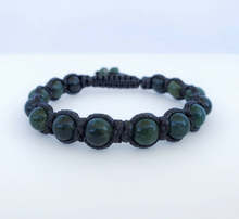 Green Moss Agate polished macrame men bracelet /light brown & black/ - BurzanDesign