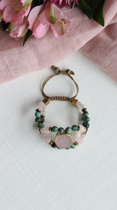 Oval Rose Quartz centerpiece with African Turquoise and Hematite double row beaded bracelet - BurzanDesign