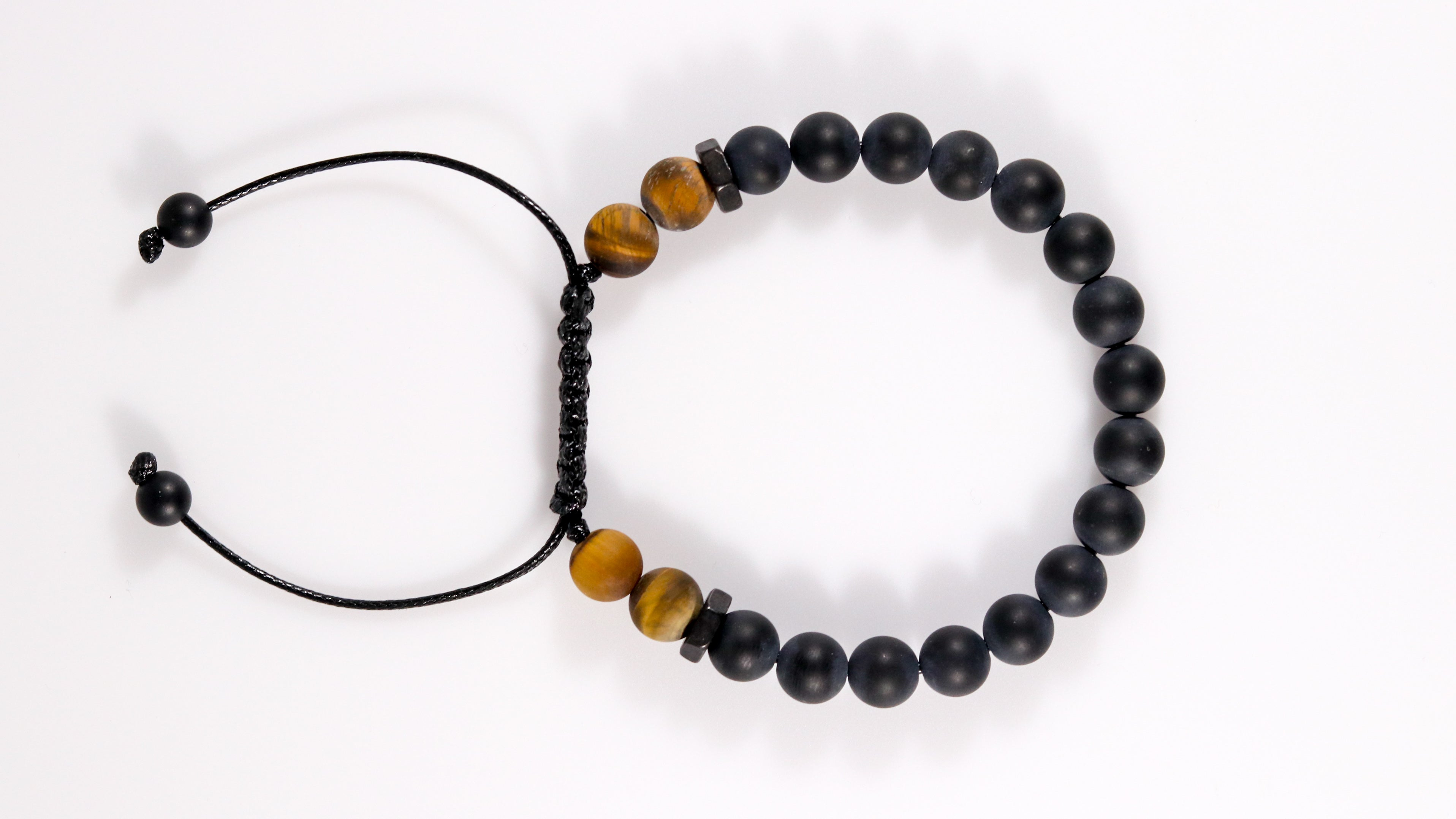 Onyx with matte Tiger's eye men bracelet - BurzanDesign