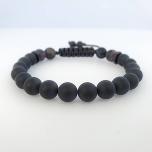 Onyx with Brown Stripe Agate men beaded bracelet - BurzanDesign